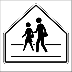 Clip Art: Signs: Crosswalk B&W I abcteach.com | abcteach clip transparent download