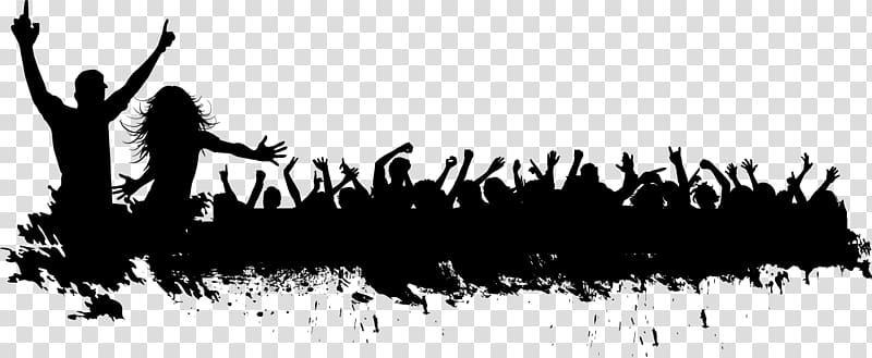 Crowd of black and white figures clipart graphic royalty free download Silhouette Crowd, Carnival crowd silhouette material transparent ... graphic royalty free download