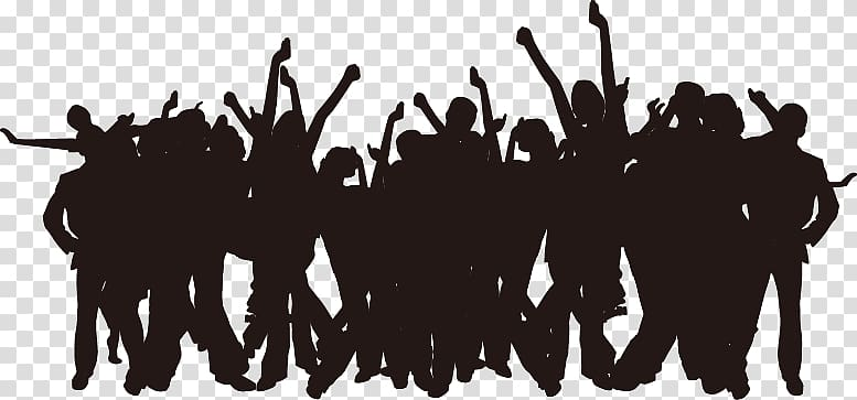 Crowd of black and white figures clipart clip royalty free Group of dancing people illustration, Party Silhouette Poster ... clip royalty free