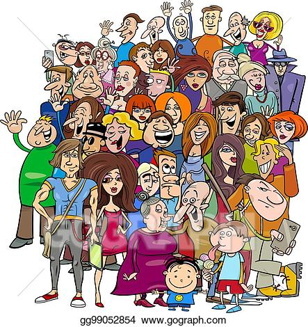 Crowd people clipart svg Vector Stock - Cartoon people group in the crowd. Clipart ... svg