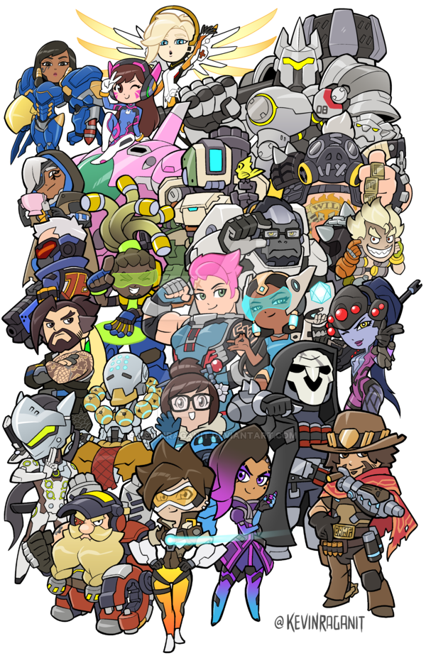 Overwatch Heroes Groupshot by KevinRaganit.deviantart.com on ... graphic transparent