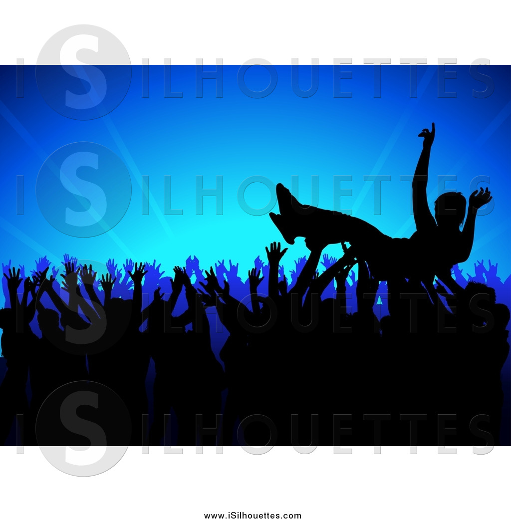 Crowdsurfing clipart png black and white download Clipart of a Silhouetted Crowd Surfer at a Concert, over a Blue ... png black and white download