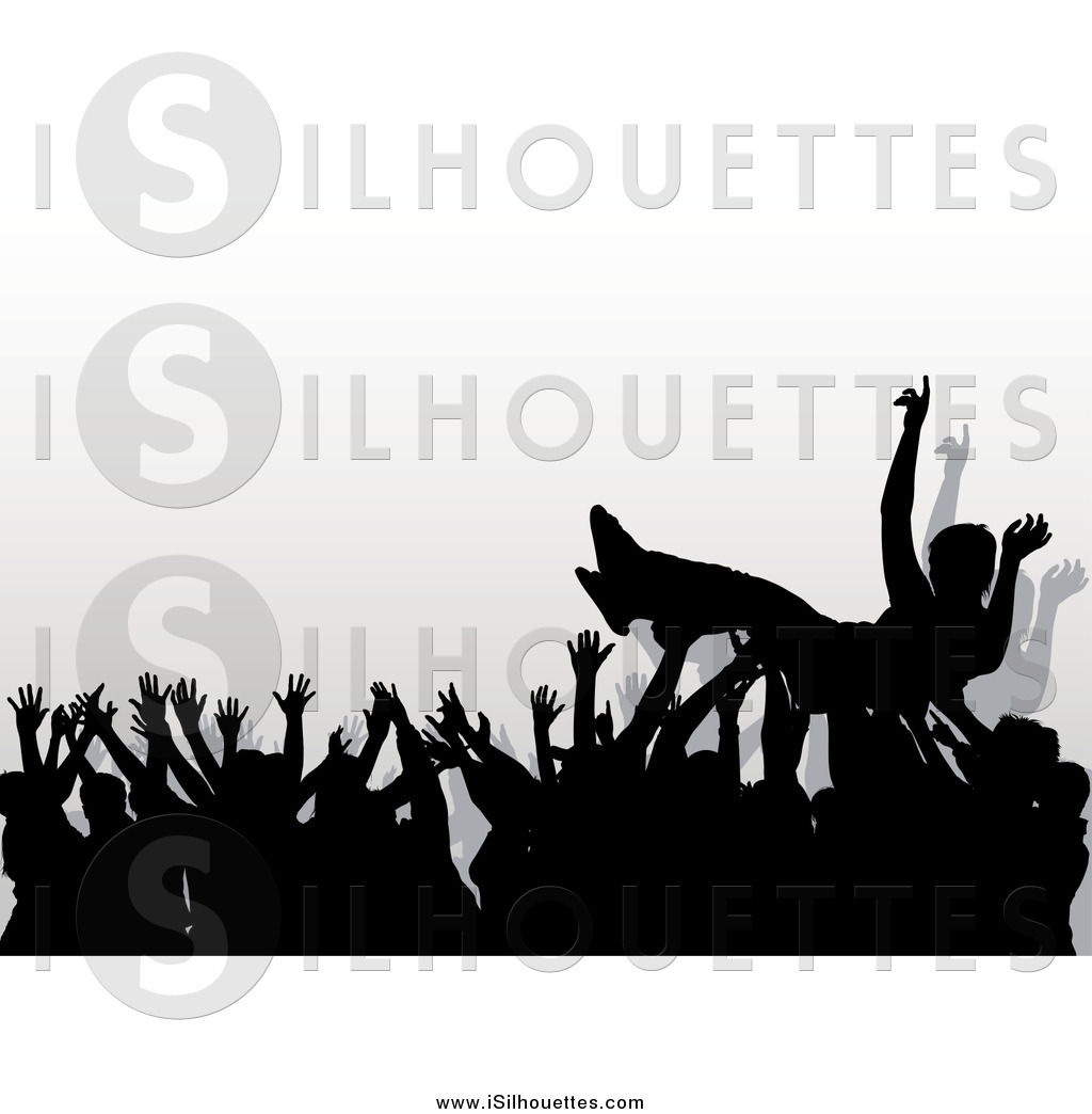 Crowdsurfing clipart image freeuse library Clipart of a Concert Crowd of Silhouetted Hands Passing a Surfer by ... image freeuse library
