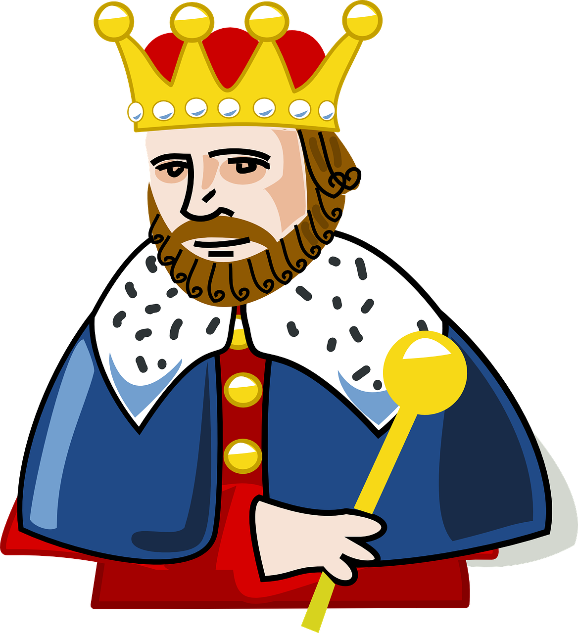 Crown and scepter clipart black anh withe royalty free stock King Crown Beard Insignia Power PNG Image - Picpng royalty free stock
