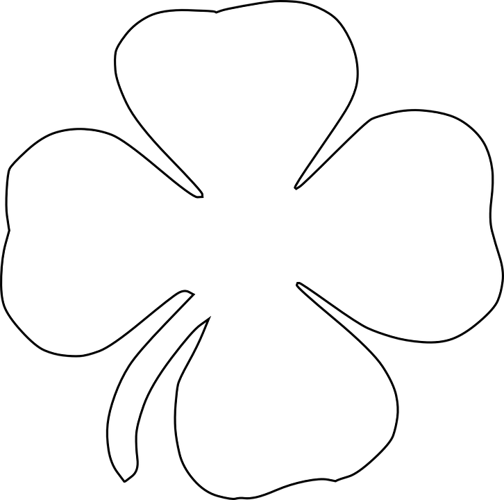 Crown clover clipart black and white png black and white library Four Leaf Clover Outline Group (89+) png black and white library