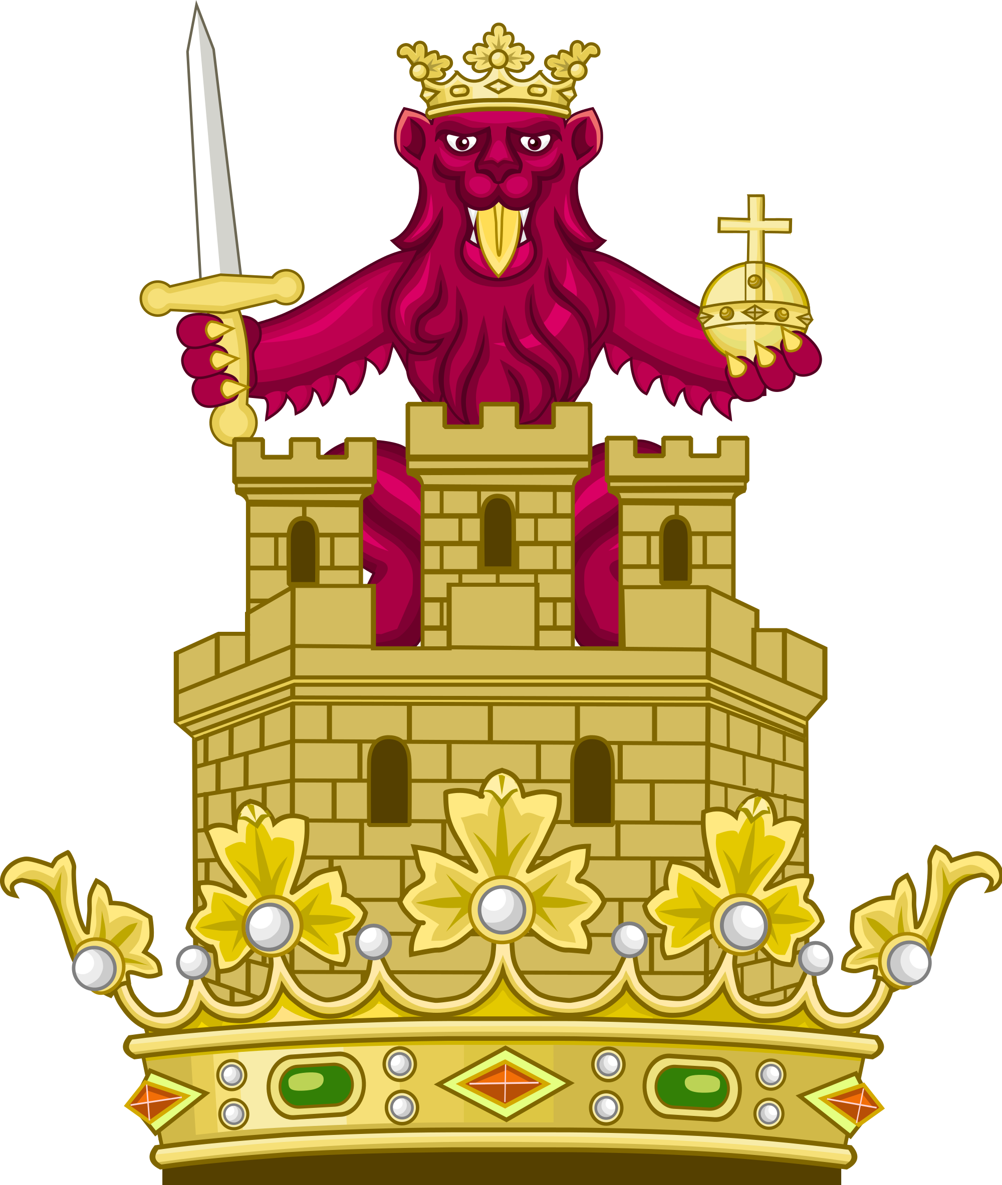 Crown crest clipart png graphic stock File:Royal Crest of the Crown of Castile.svg - Wikimedia Commons graphic stock