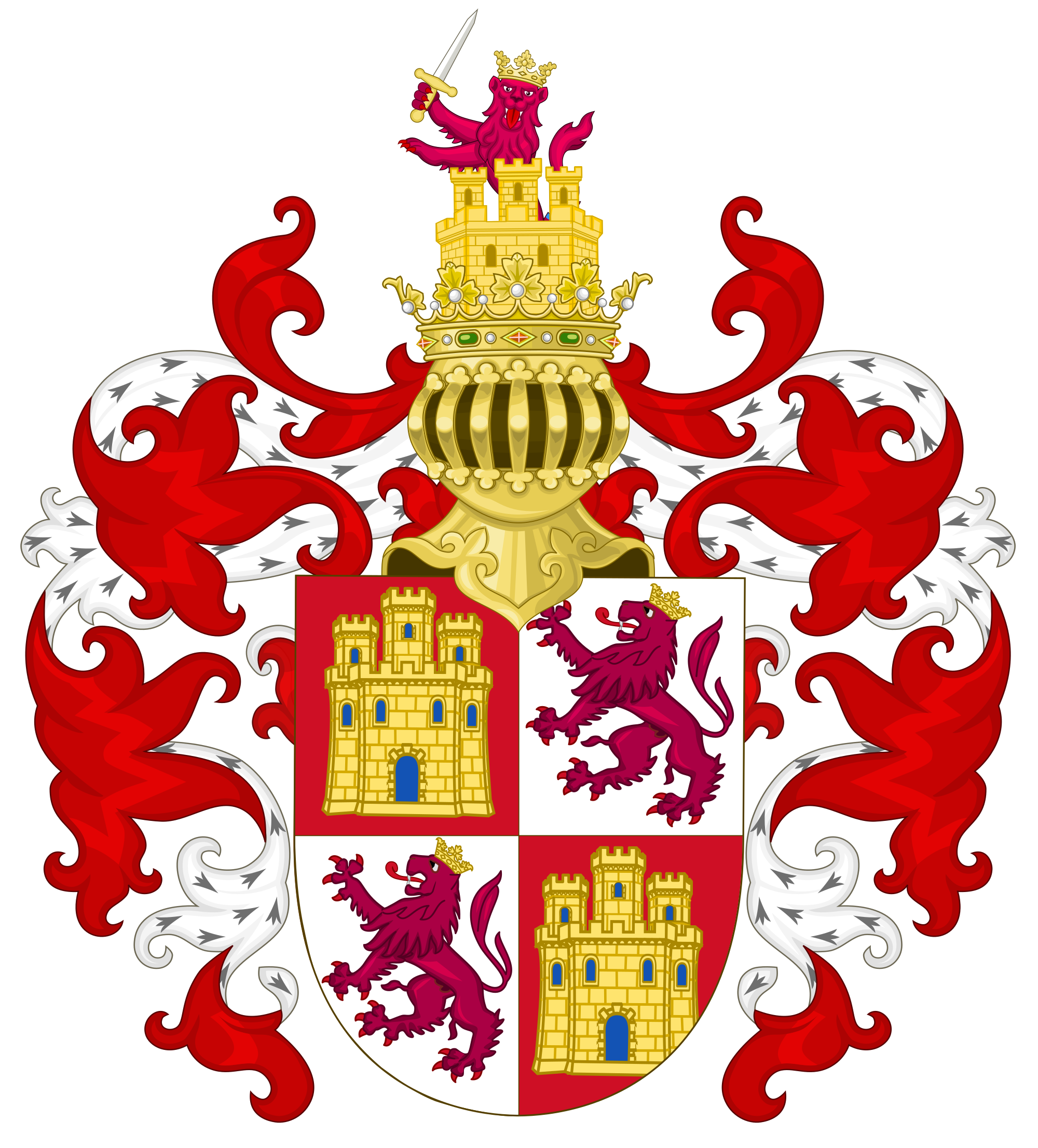 Crown crest clipart png png free library File:Arms of the Crown Castile with the Royal Crest.svg - Wikimedia ... png free library