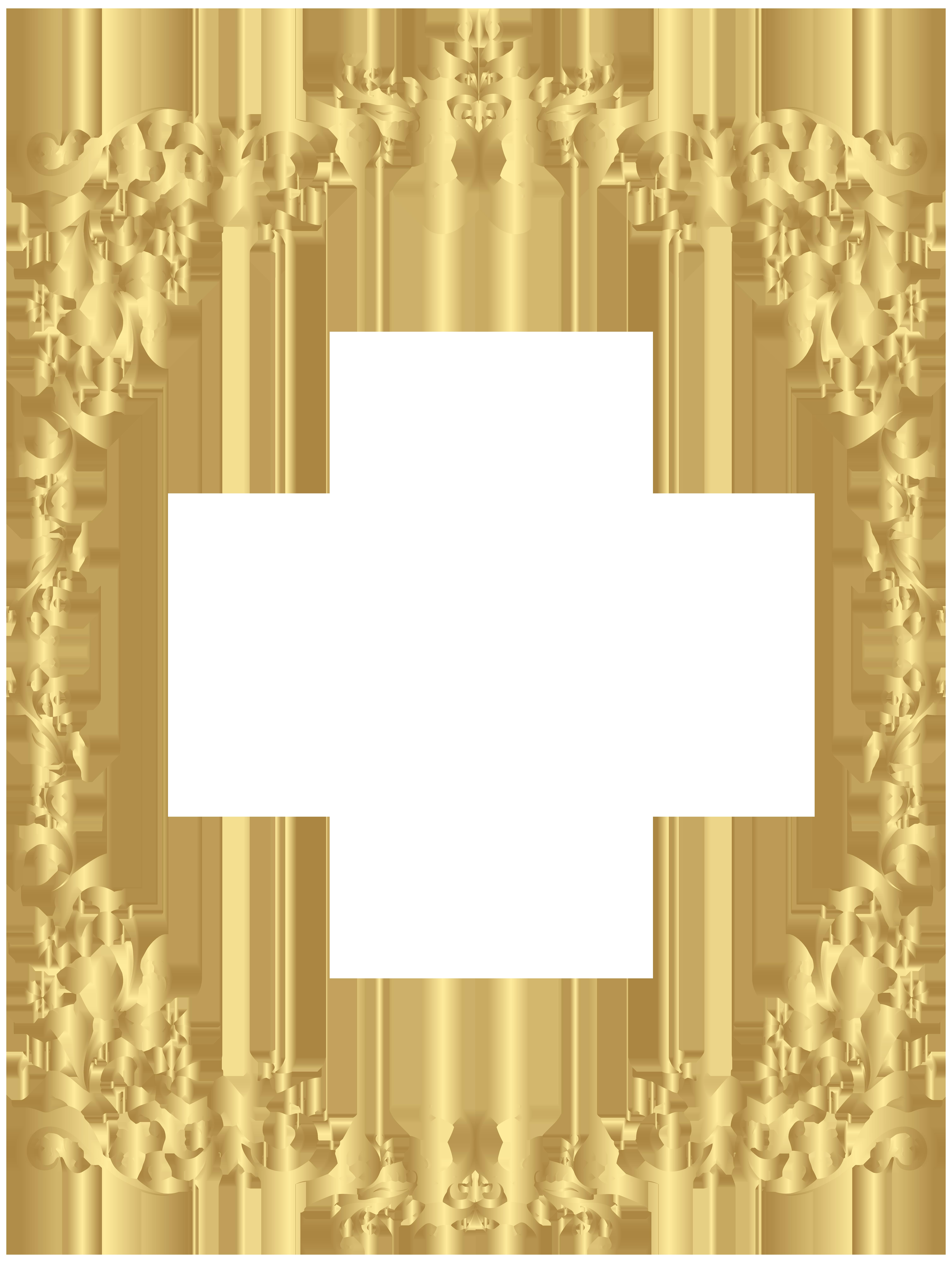 Gold crown clipart black border svg black and white download Border Gold Decorative Frame PNG Clip Art | Gallery Yopriceville ... svg black and white download