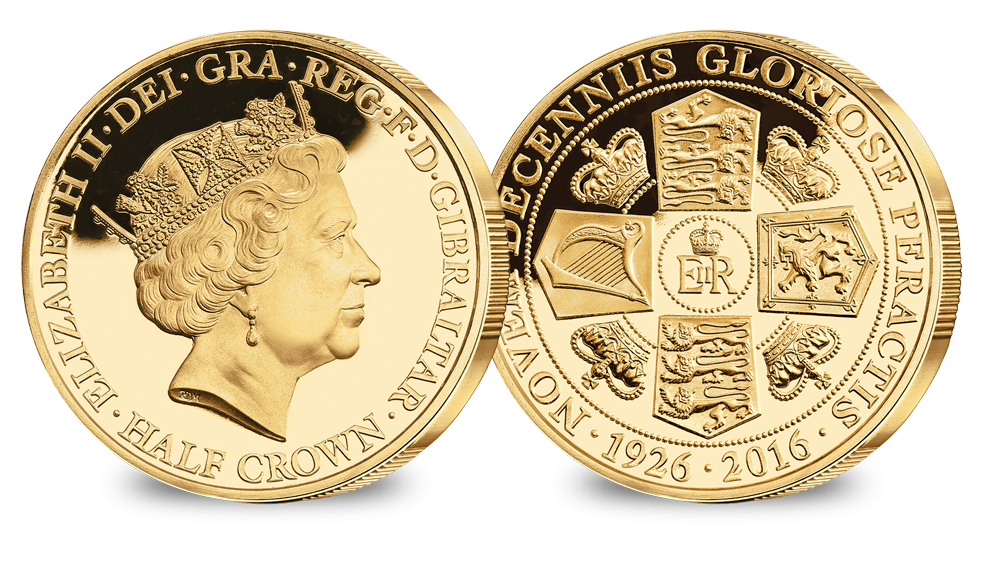 Crown gold coins clipart download Her Majesty's 90th Birthday Portrait Gold layered Half Crown - HM ... download