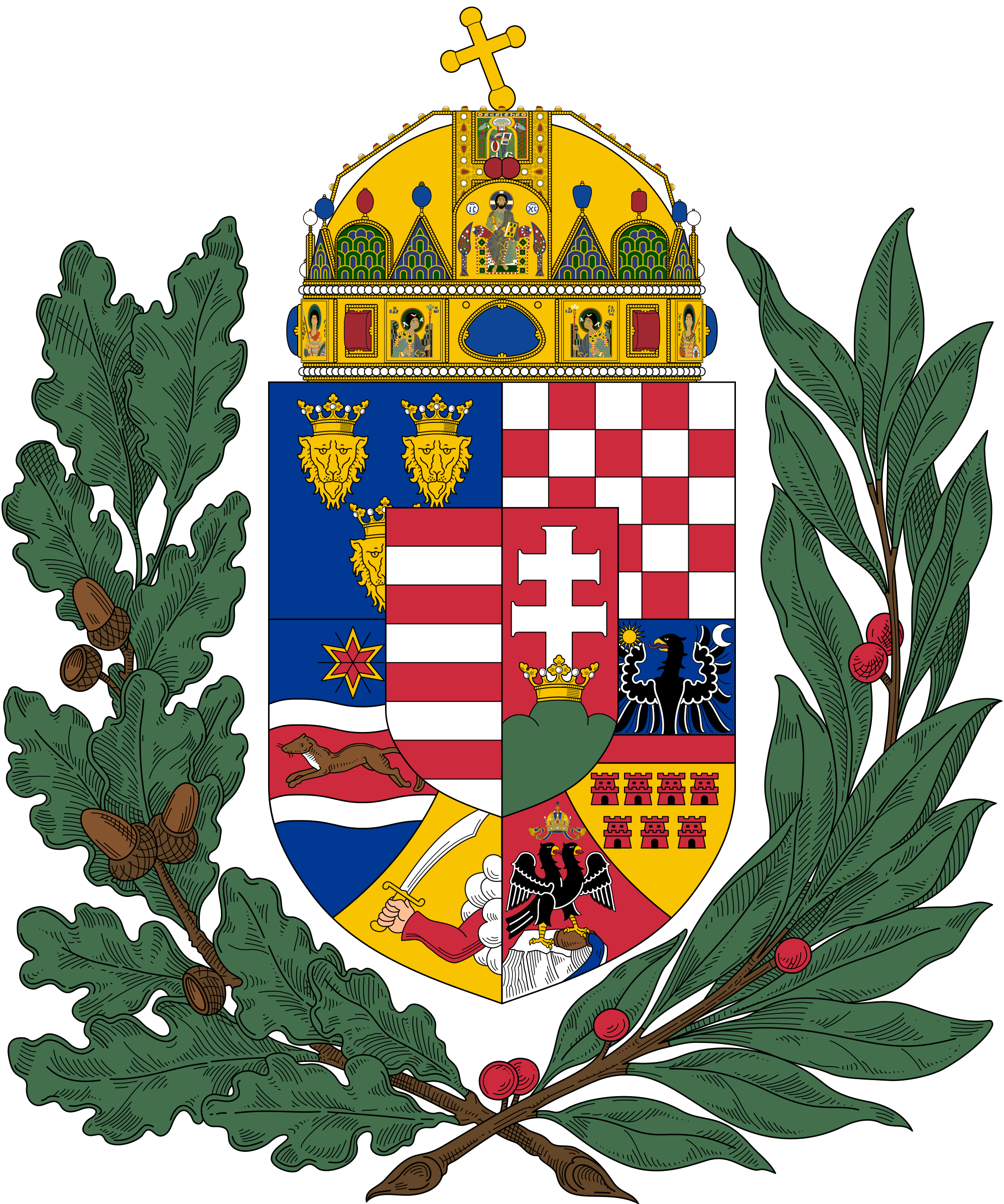 Crown made of branches clipart library File:Coat of arms of the Lands of the Holy Hungarian Crown (1915 ... library