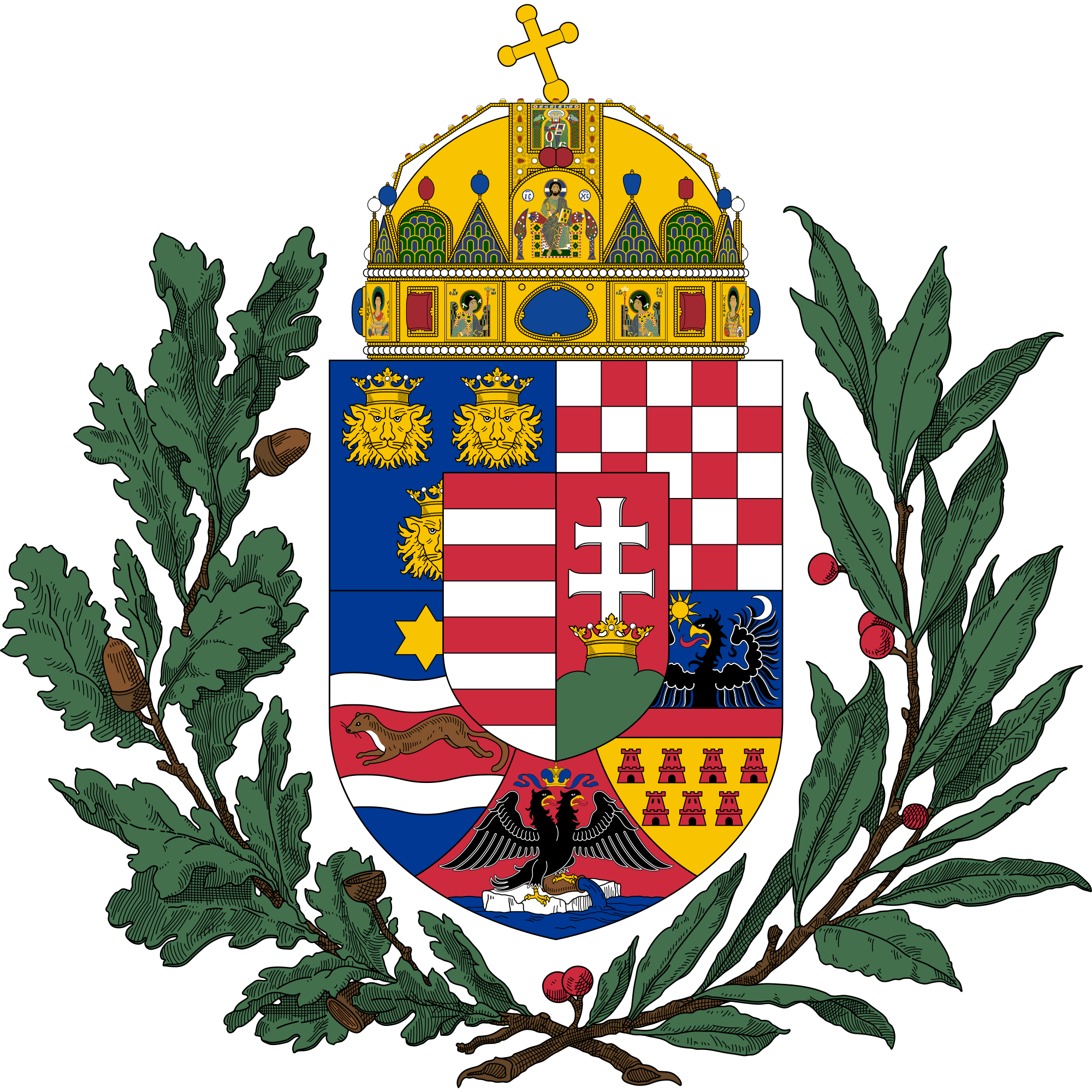 Crown made of branches clipart free File:Coat of arms of the Lands of the Holy Hungarian Crown (1896 ... free