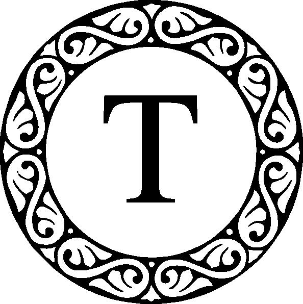 Letter t clip art. Flower monogram clipart