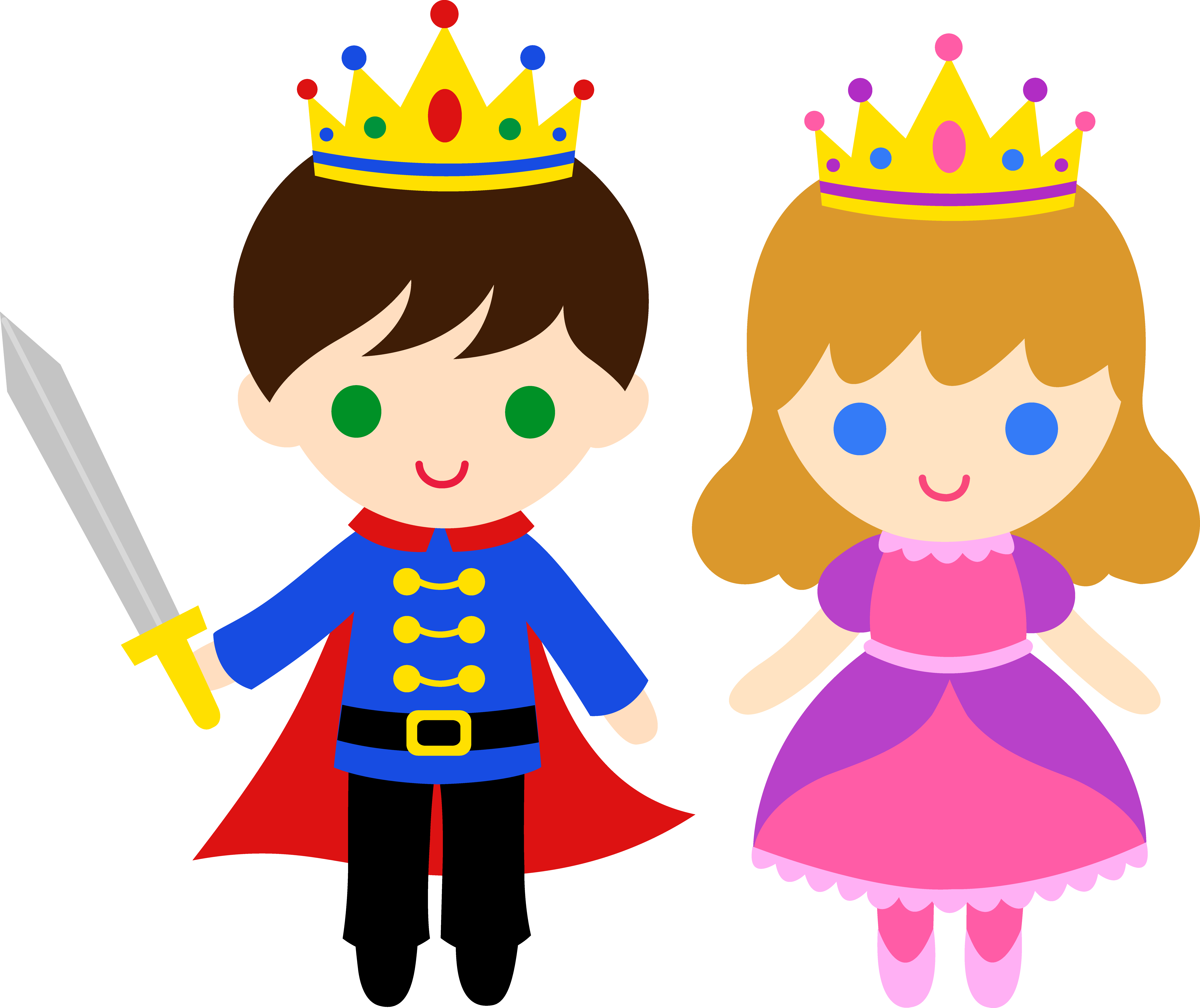 Crown prince clipart image freeuse stock Cute Prince and Princess 1 - Free Clip Art image freeuse stock