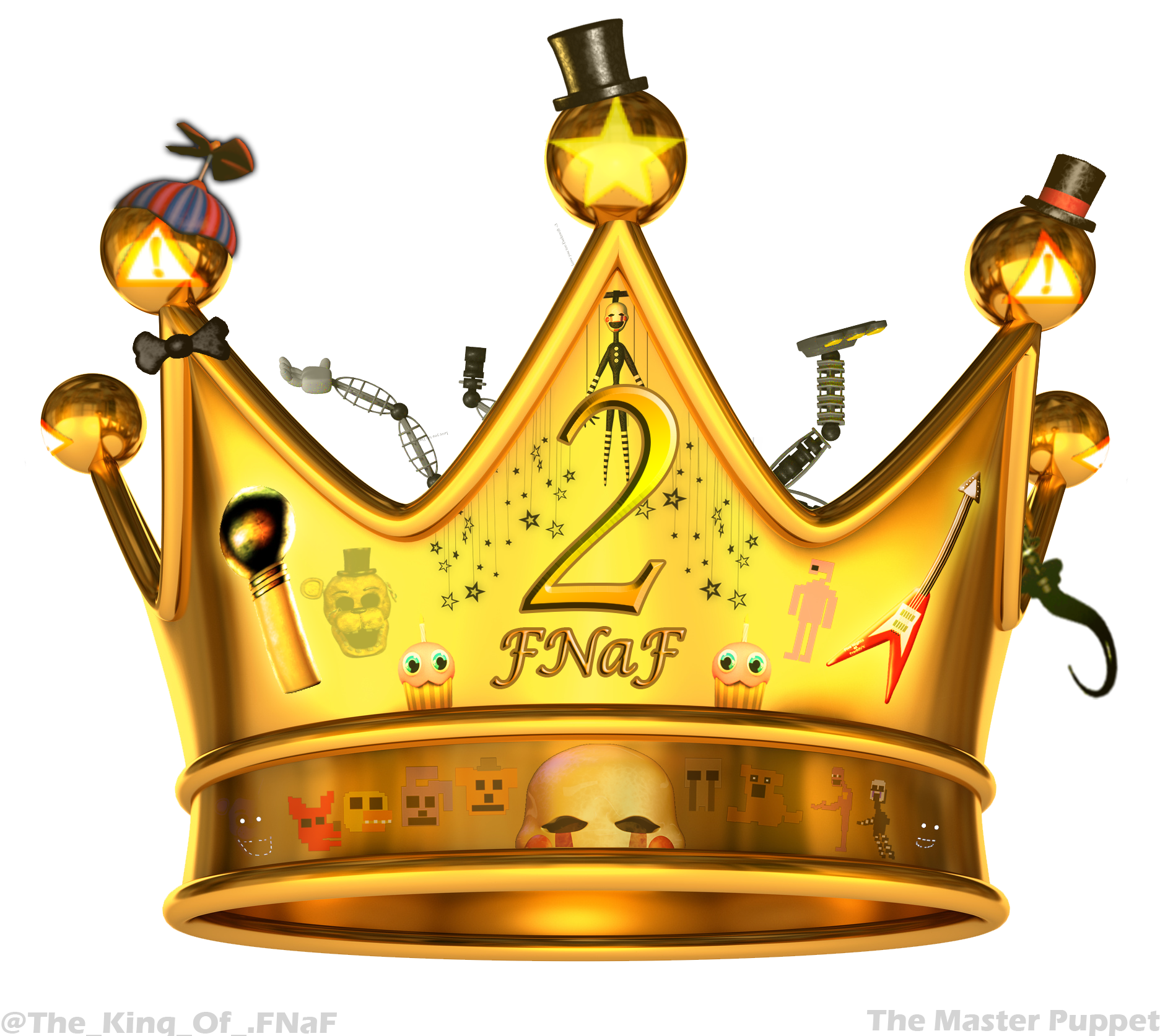 Crown with 3 points clipart clip art transparent The official Crown of COMPLETING FNaF 2 (with 3 stars ... clip art transparent