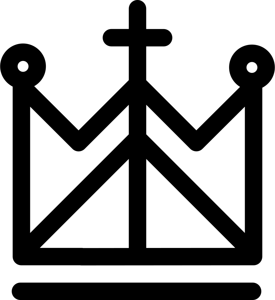 Crown with 3 points clipart black and white library Royal Religion Crown With Cross And Lines Svg Png Icon Free Download ... black and white library