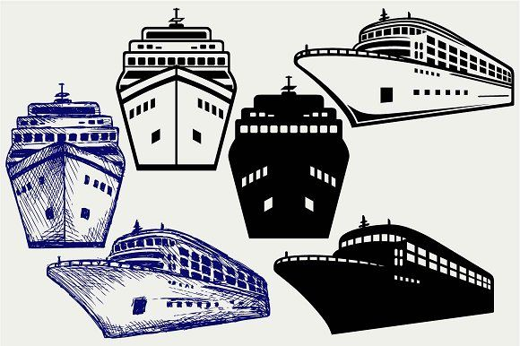 Cruise ship SVG DXF by LineworkStock on @creativemarket ... picture transparent download