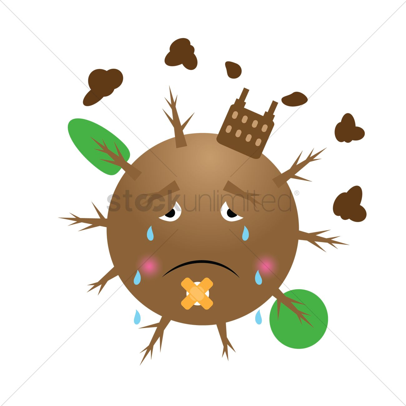 Crying earth clipart transparent stock Crying earth due to pollution Vector Image - 1302662 ... transparent stock