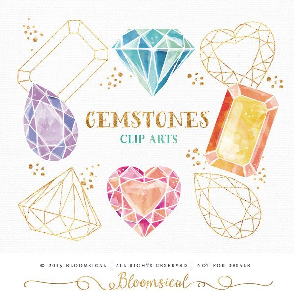 Gemstones Clip Art | Hand Drawn watercolor diamond, crystal, gem ... vector transparent