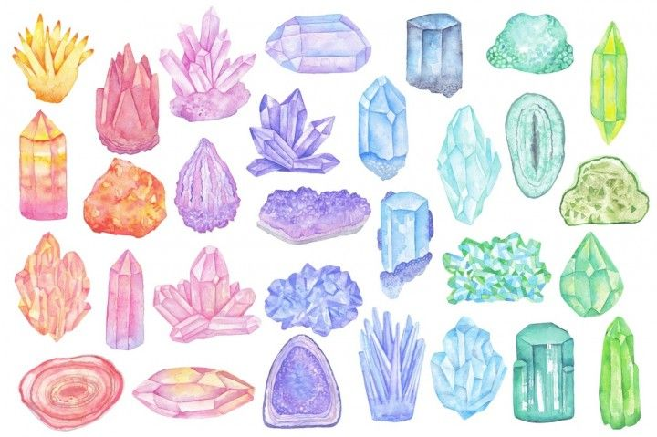 Watercolor crystals, minerals, gems clipart set By Abracadabraaa ... banner royalty free library