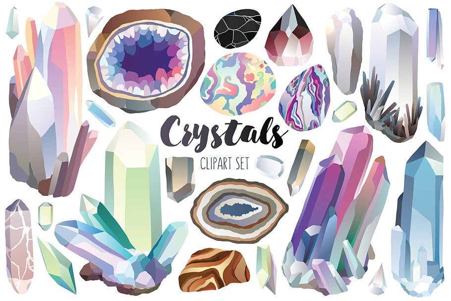 Crystal gem clipart clipart library Crystals & Gems Clipart Bundle clipart library