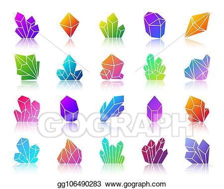 Crystal icons clipart vector freeuse Vector Stock - Crystal simple gradient icons vector set ... vector freeuse