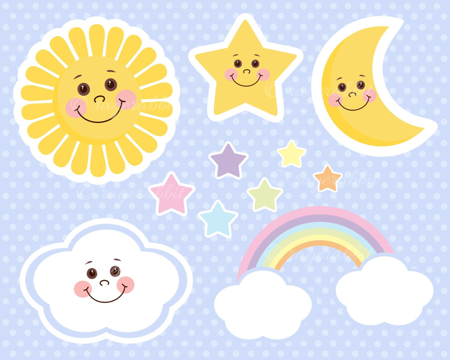 Cu sun moon and stars watercolor clipart clip freeuse library Sun Baby Vector Illustrations, Clouds, Rainbow, Stars, Moon ... clip freeuse library
