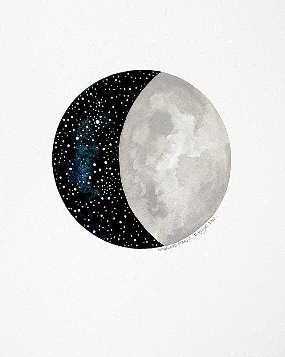 Cu sun moon and stars watercolor clipart clipart black and white Moon and Stars by Natasha Newton// | lo=00ks | Moon art ... clipart black and white