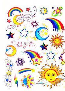 Cu sun moon and stars watercolor clipart clip art free library Amazon.com: BT0084 Colorful Rainbow Sun Moon Star Removable ... clip art free library