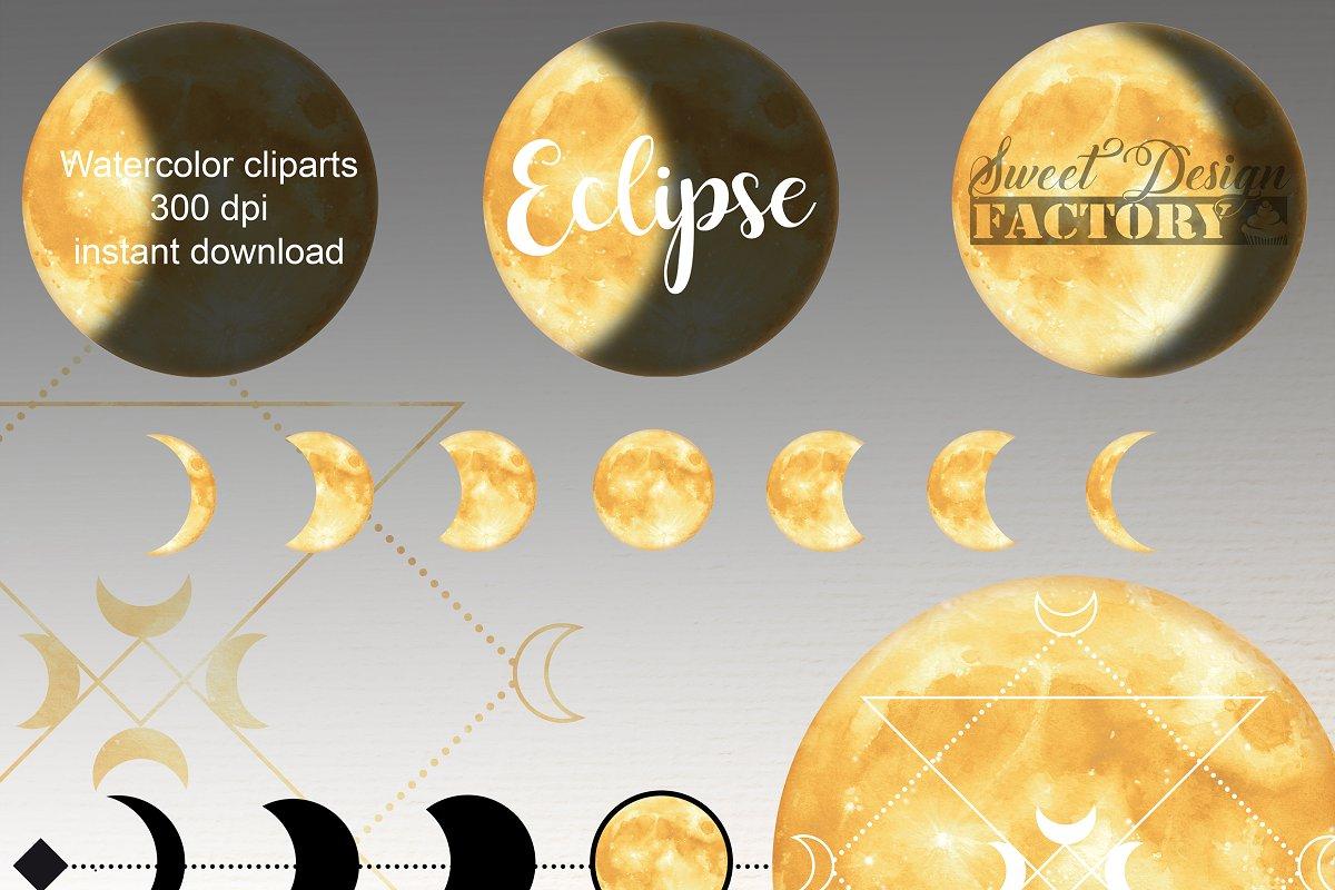 Cu sun moon and stars watercolor clipart clip art transparent download Watercolor gold moon clipart ~ Illustrations ~ Creative Market clip art transparent download