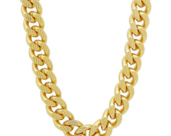 Hip hop chain clipart jpg library library 14K Gold Plated 11mm Curb Chain With Diamond Cuts, Cuban ... jpg library library