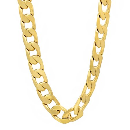 Cuban link clipart banner transparent 8mm 14k Gold Plated Cuban Link Curb Chain Necklace + Microfiber Jewelry  Polishing Cloth banner transparent