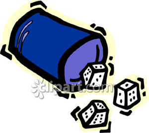 Cup game clipart jpg royalty free Dice Spilling From a Game Cup - Royalty Free Clipart Picture jpg royalty free
