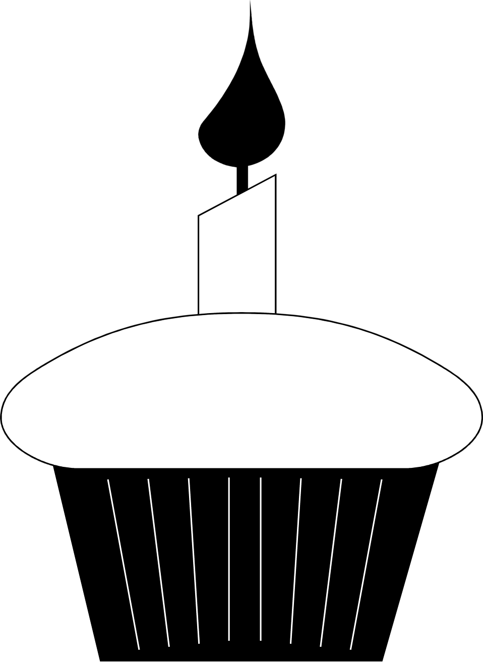 Cupcake 2 candles clipart black and white banner royalty free stock Candle Clipart Black And White | Free download best Candle ... banner royalty free stock