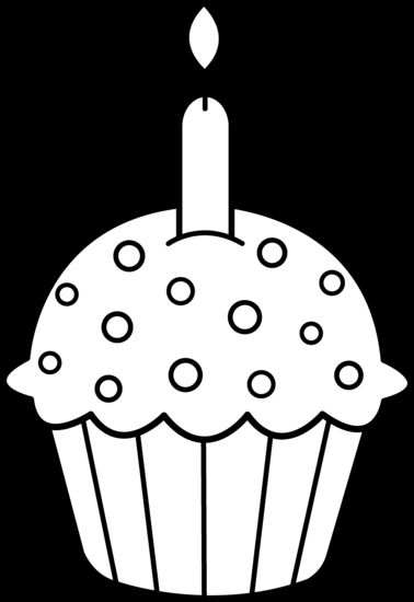 Cupcake 2 candles clipart black and white jpg transparent download Best Cupcake Clipart Black And White #5199 - Clipartion.com ... jpg transparent download