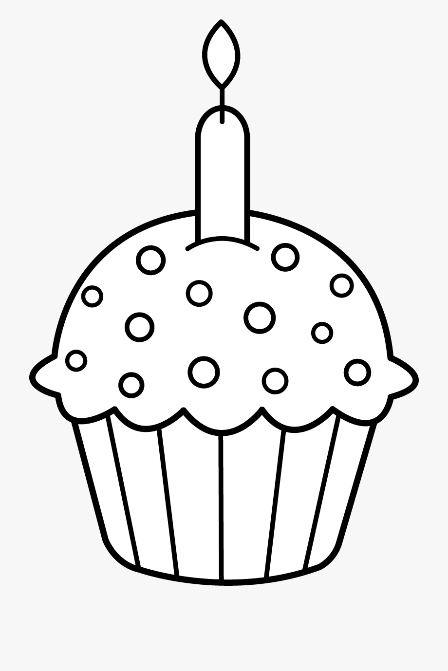 Cupcake 2 candles clipart black and white image black and white stock Birthday Candles Clipart Black And White - Birthday Cupcake ... image black and white stock
