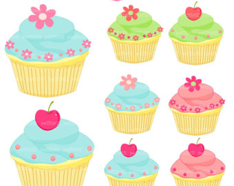 Cupcake geburtstag clipart clip free stock Cupcake Clip Art Cake Cupcakes Blue Pink Green Cupcake Instant ... clip free stock