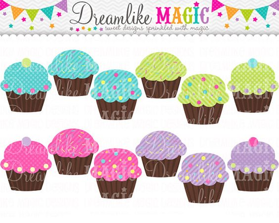 Cupcake geburtstag clipart jpg black and white stock Sweet Dreamy Magical Cupcakes- Clipart for Personal or Commercial ... jpg black and white stock