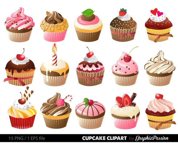 Cupcakes digitale clip art. Cupcake geburtstag clipart