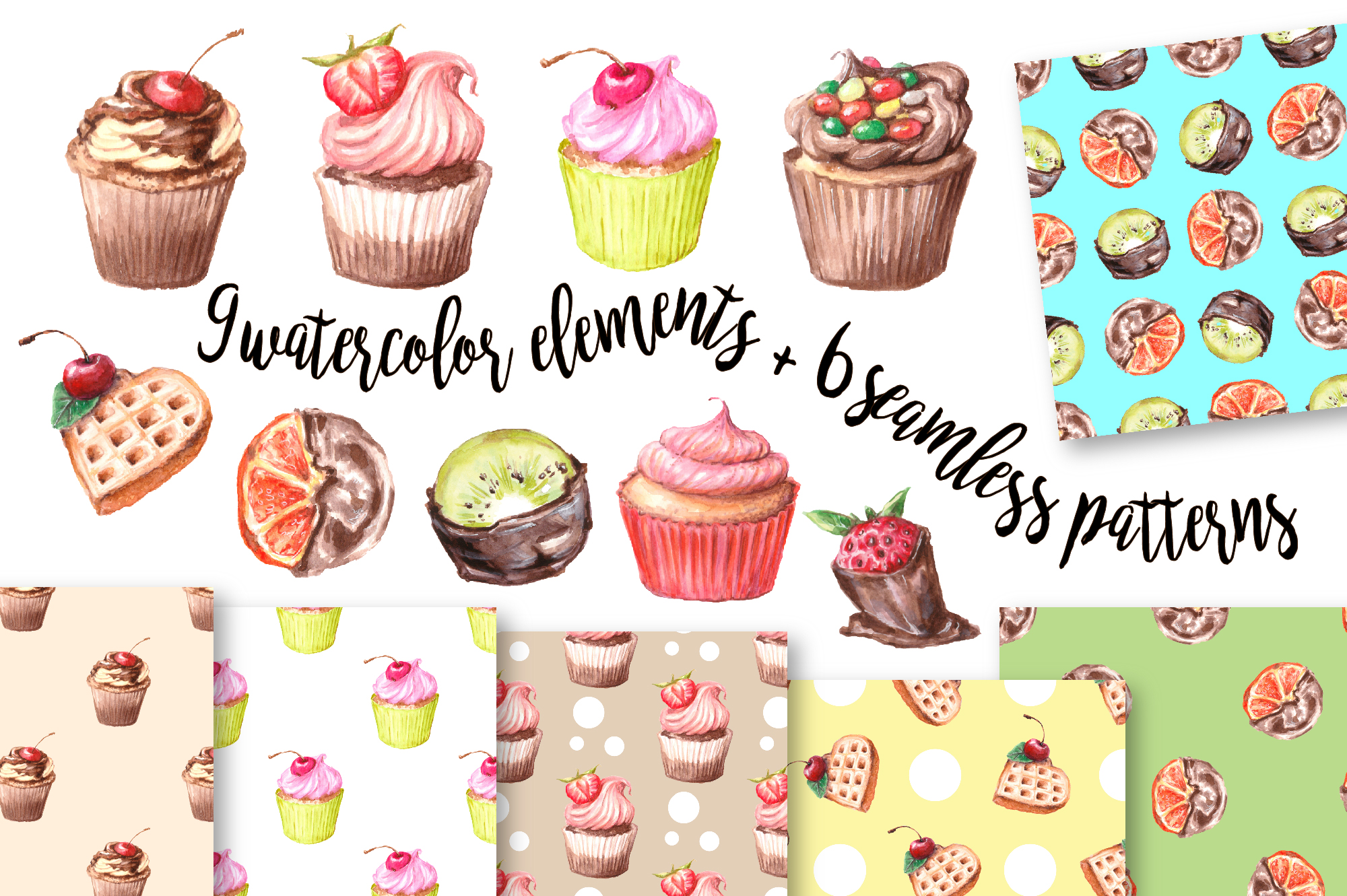 Cupcake graphics clipart vector transparent Watercolor Clip Art – Cupcake vector transparent