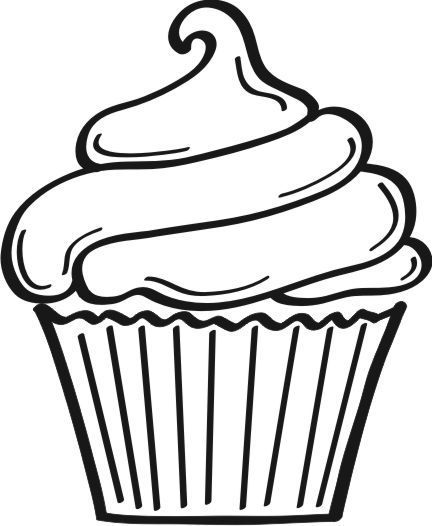 Cupcake with candle clipart coloring pages space for name