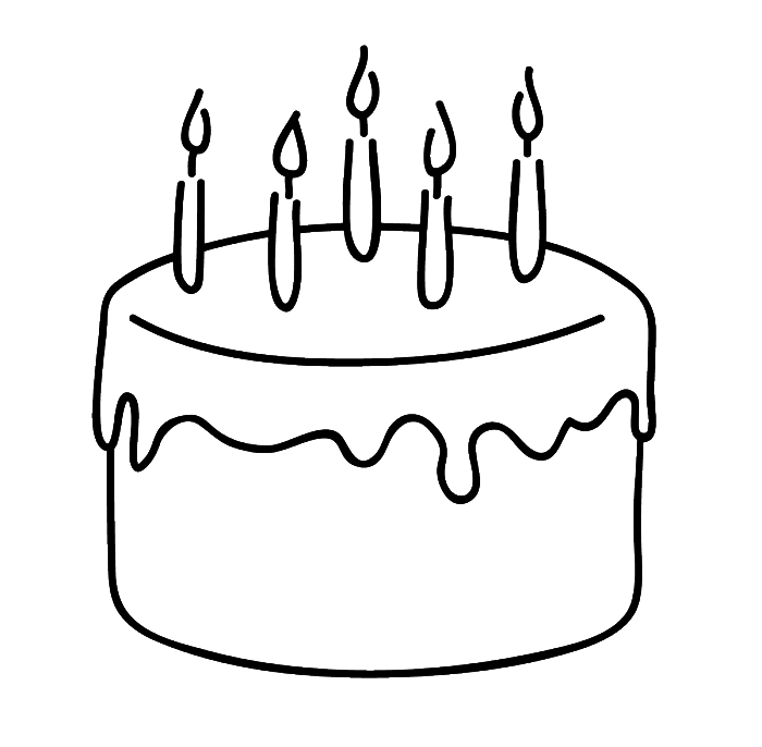 Cupcake with candle clipart coloring pages space for name vector library stock Birthday Cake That Is Simple And Attractive Coloring Page ... vector library stock