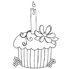 Cupcake with candle clipart coloring pages space for name png free Happy Birthday Coloring Pages - Free Printables png free