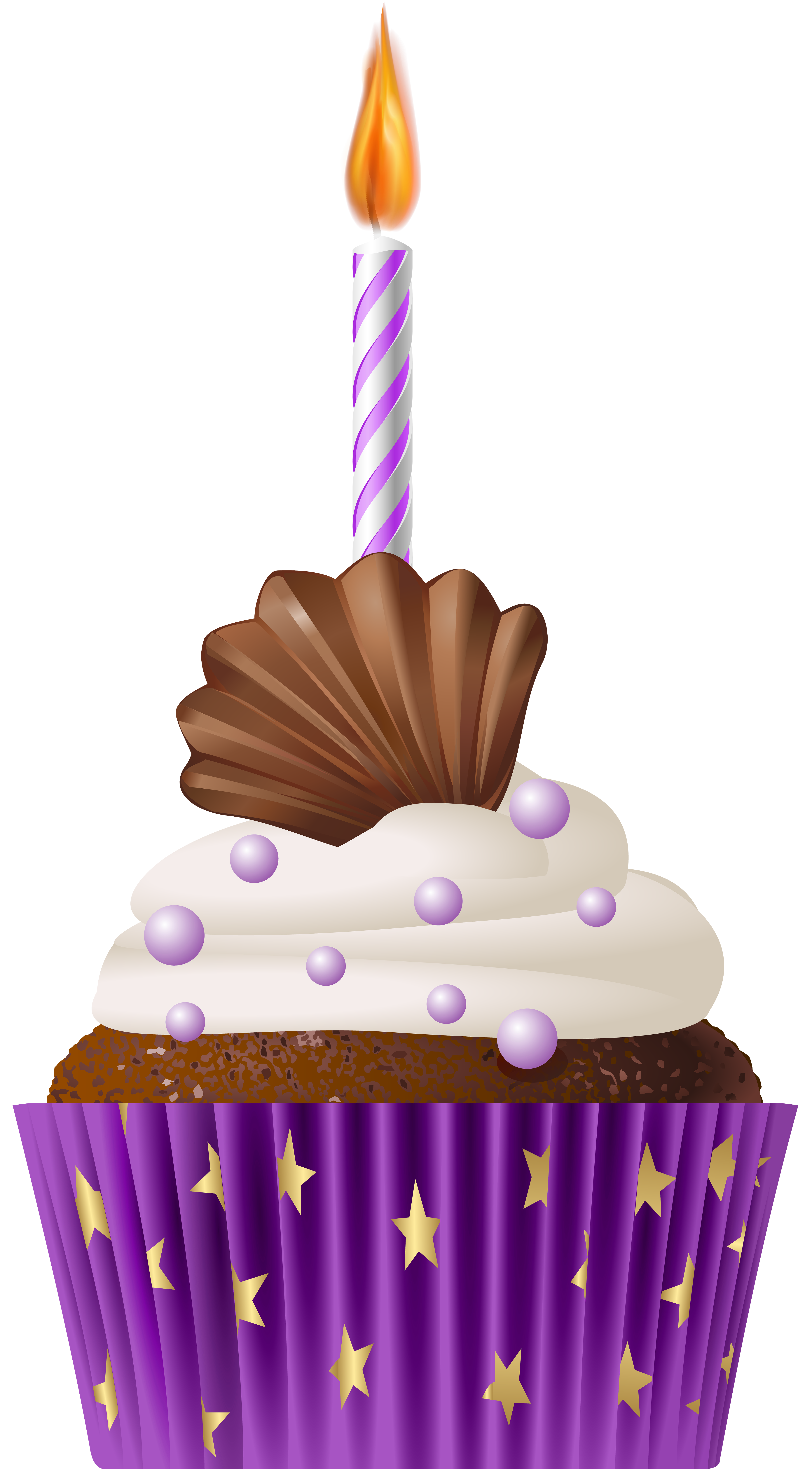 Cupcake with crown clipart stock Birthday Muffin Purple with Candle PNG Clip Art | Gallery ... stock