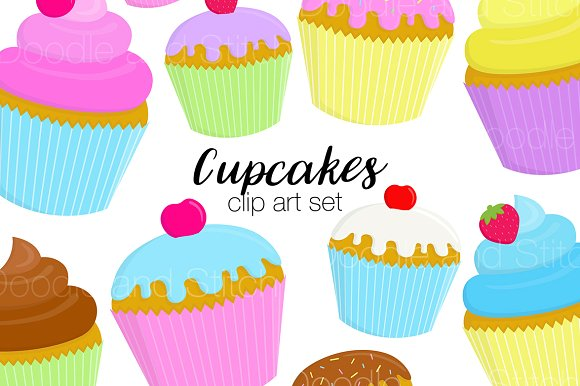 Cupcakes clipart clipart freeuse stock Cupcakes Clipart Illustration Set clipart freeuse stock