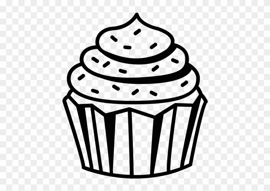 Cupcake Clipart Black And White Black And White Cupcake - Cup Cake ... image transparent