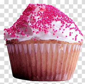 Cupcakes white icing with red sprinkles clipart
