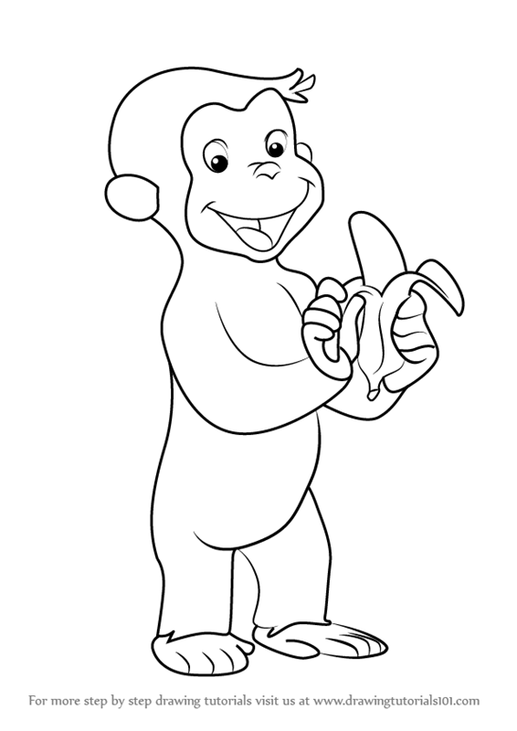 Curious george sledding clipart black and white image transparent download George paintings search result at PaintingValley.com image transparent download