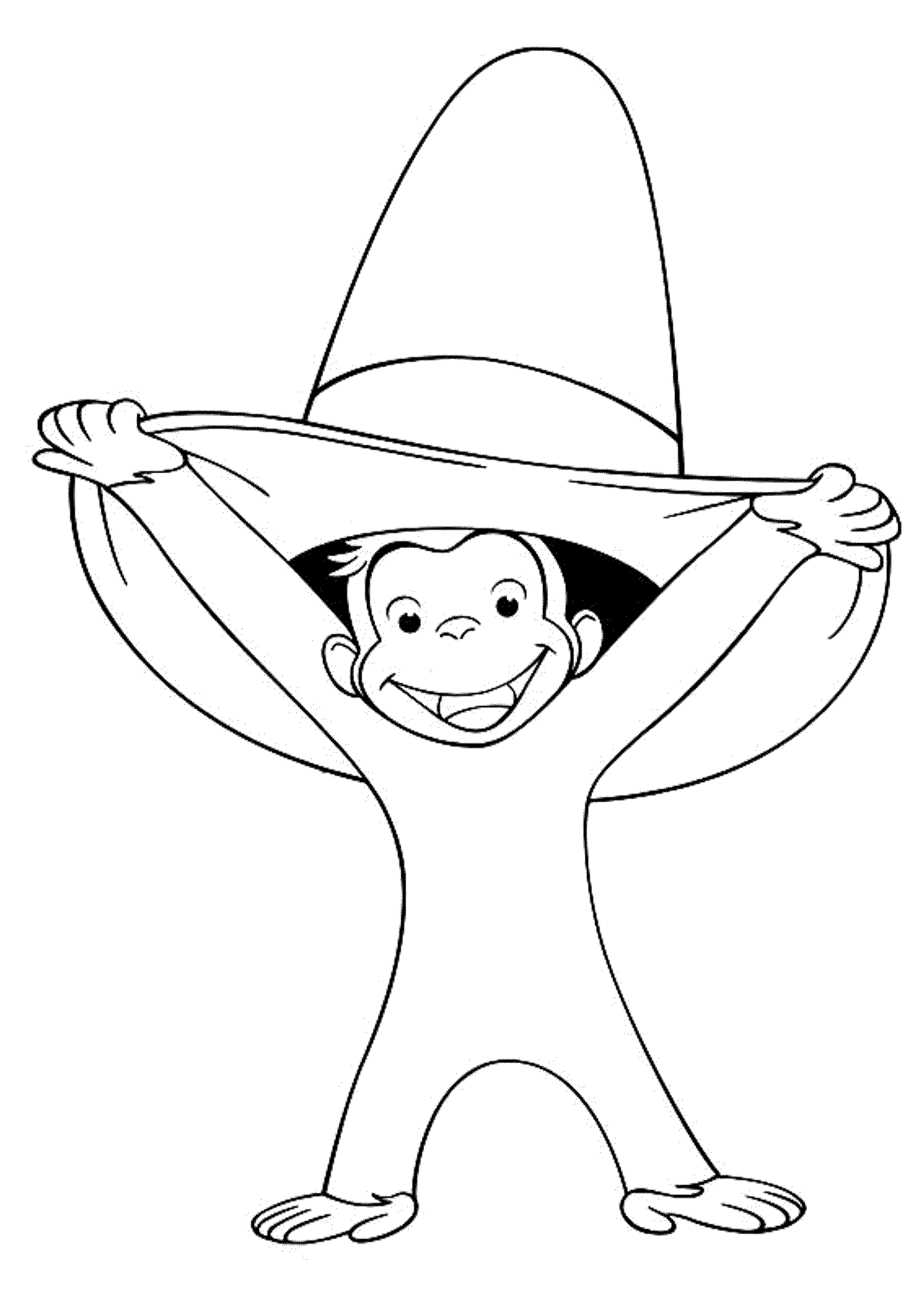 Curious george yellow hat man clipart black and white clipart freeuse stock Curious George Coloring Pages to Stimulate Kids\' Fine Motor ... clipart freeuse stock