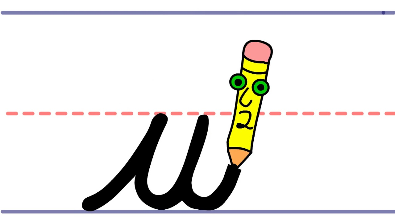 Pencil Pete\'s Cursive Writing - Lowercase w clipart black and white download