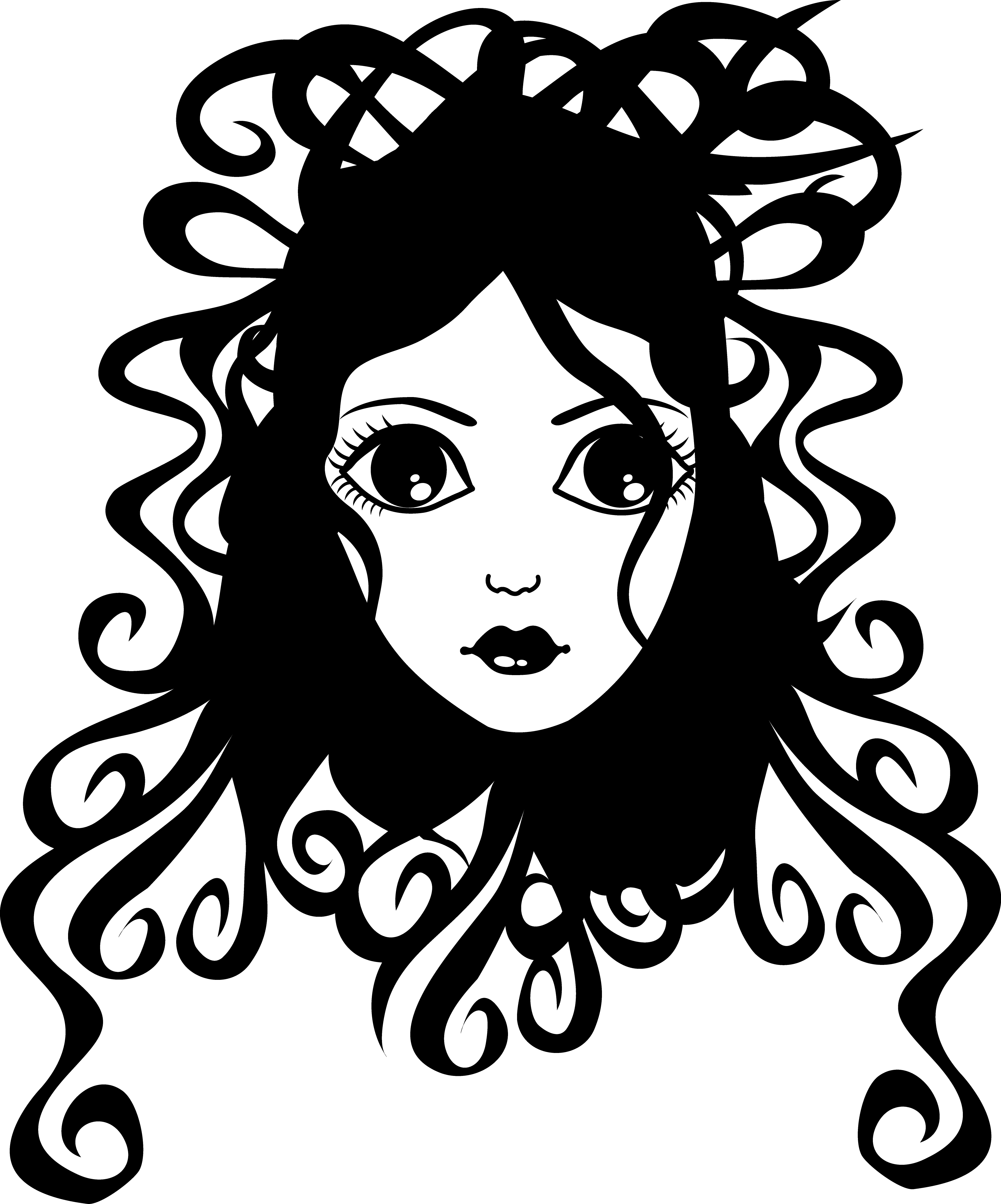 Curly cross clipart picture free download Free clip art of a pretty girl with curly hair in black and white ... picture free download